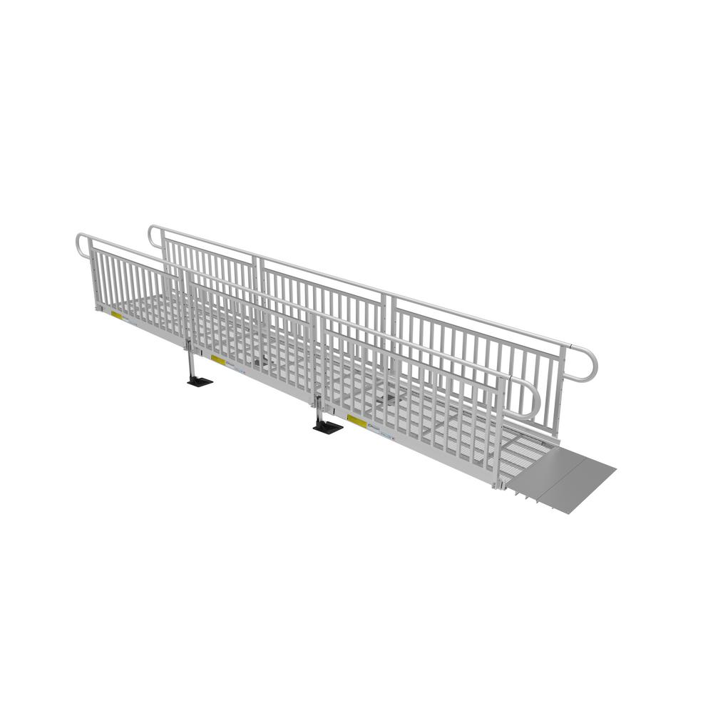 ez-access 18 ft  expanded metal ramp kit with vertical pickets-p3g sem18vp