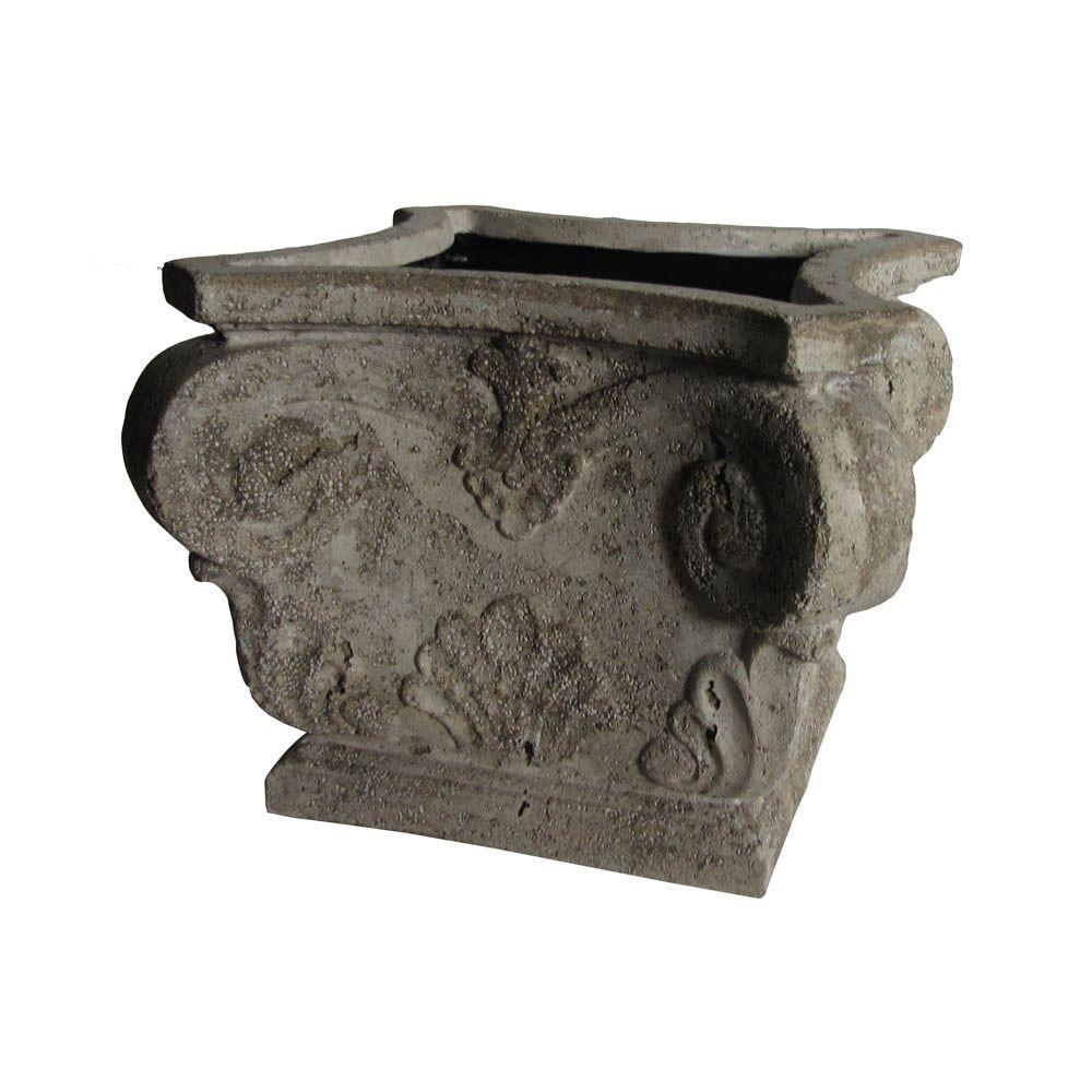 MPG 16-1/2 in. Square Volcanic Ash Cast Stone Capital Planter