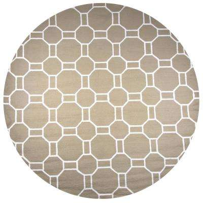 Azzura Hill Beige Geometric 8 ft. x 8 ft. Round Outdoor Area Rug