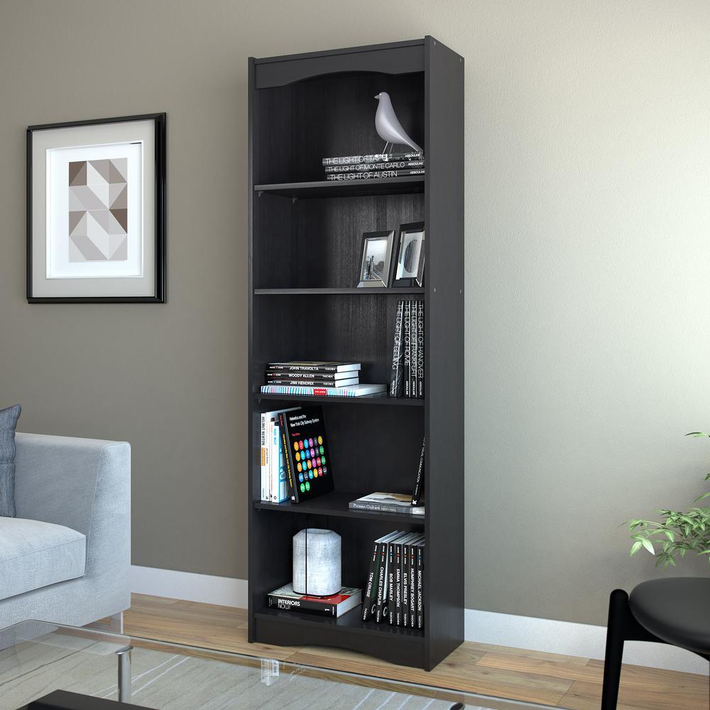 midnight black tall bookcase. corliving hawthorn  in midnight black tall bookcaselhns