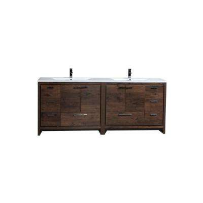 Dolce 83.5 in. W bath vanity in rosewood with reinforced acrylic vanity top in white with white basins