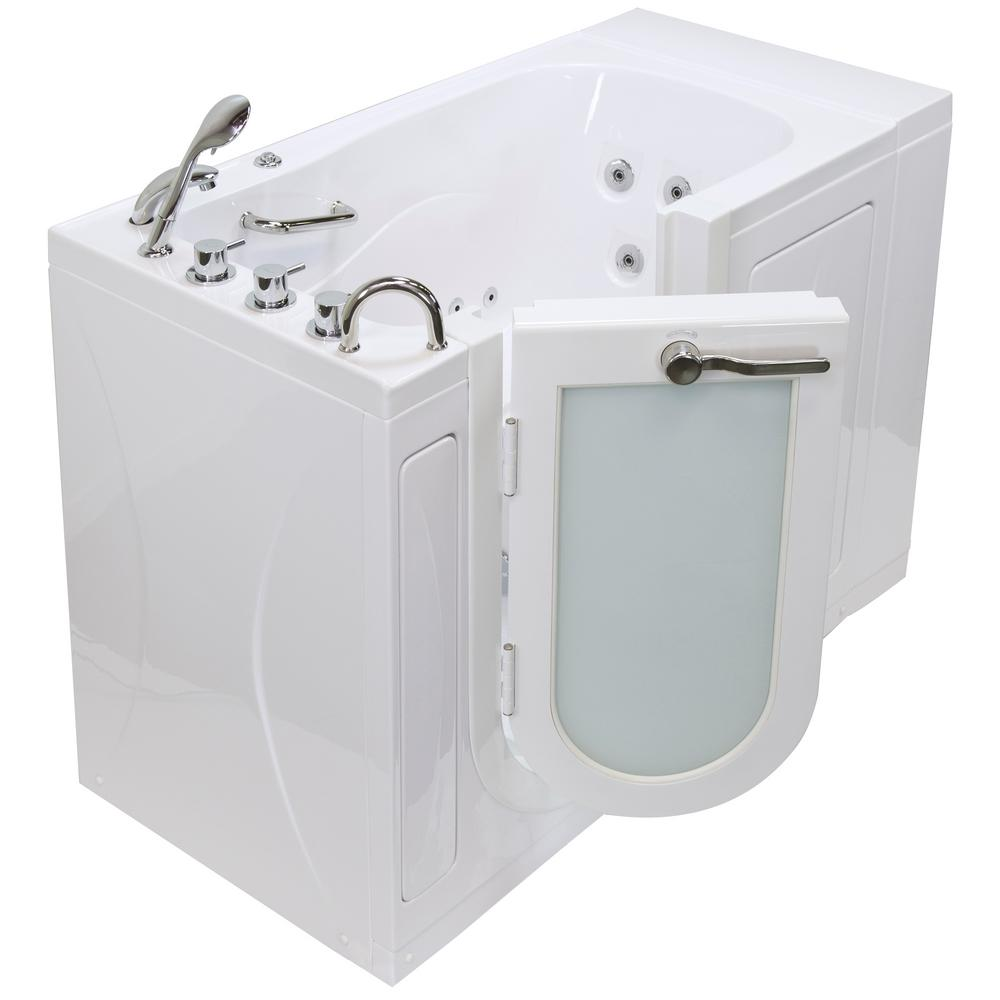 Ella Monaco Acrylic 52 In. Walk In Whirlpool And MicroBubble Tub In White  Heated