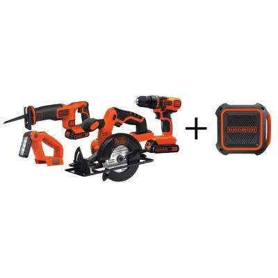 20-Volt MAX Lithium-Ion Cordless Combo Kit (4-Tool) with (2) Batteries 1.5Ah, Charger and Bonus Wireless Speaker