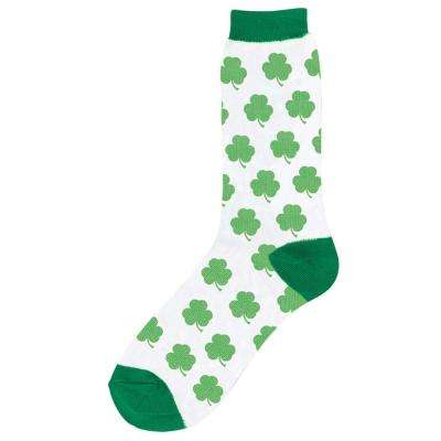 Green and White Shamrock St. Patrick's Day Crew Socks (2-Count, 4-Pack)