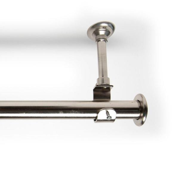 108 in. - 168 in. Hanging Single Curtain Rod With Brackets in Silver