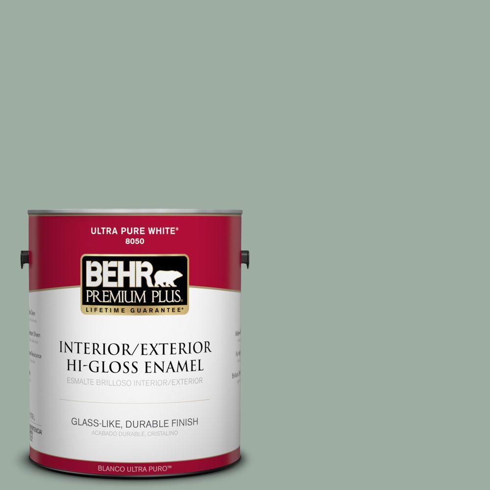 BEHR Premium Plus 1-gal. #N420-3 Misty Moss Hi-Gloss Enamel Interior/Exterior Paint