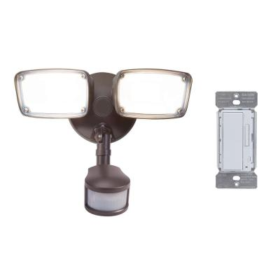 180-Degree Bronze Smart Bluetooth Motion Activated Outdoor Integrated LED Flood Light with In-Wall Accessory Dimmer