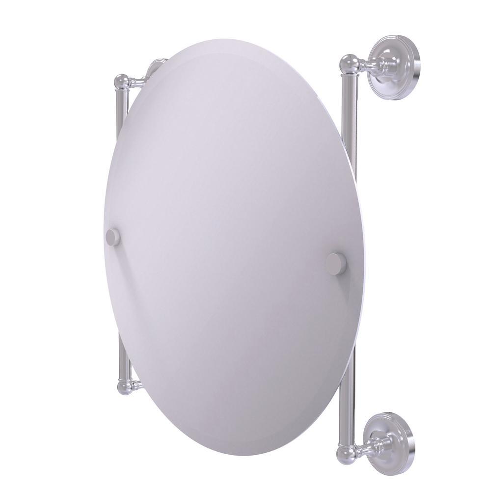 Prestige Regal Collection Round Frameless Rail Mounted Mirror in Satin Chrome