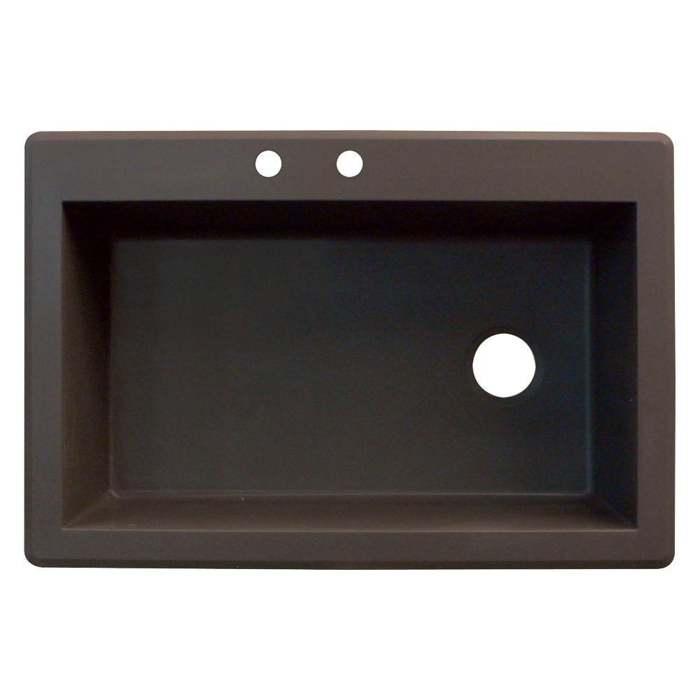 Radius Drop-in Granite 33 in. 2-Hole Single Basin Kitchen Sink in Espresso
