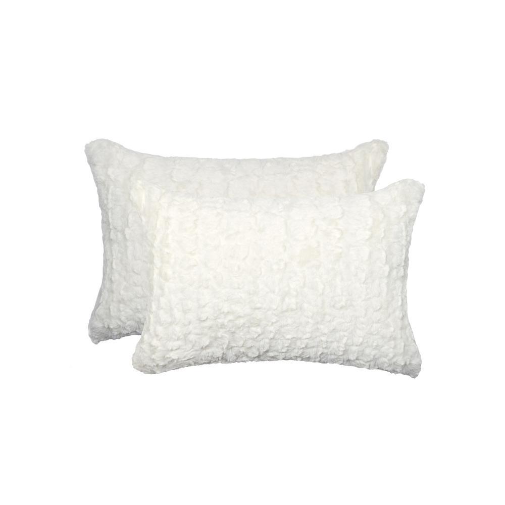 Belton Ivory Mink 12 in. x 20 in. Faux Sheepskin Decorative Pillow (Set of 2)