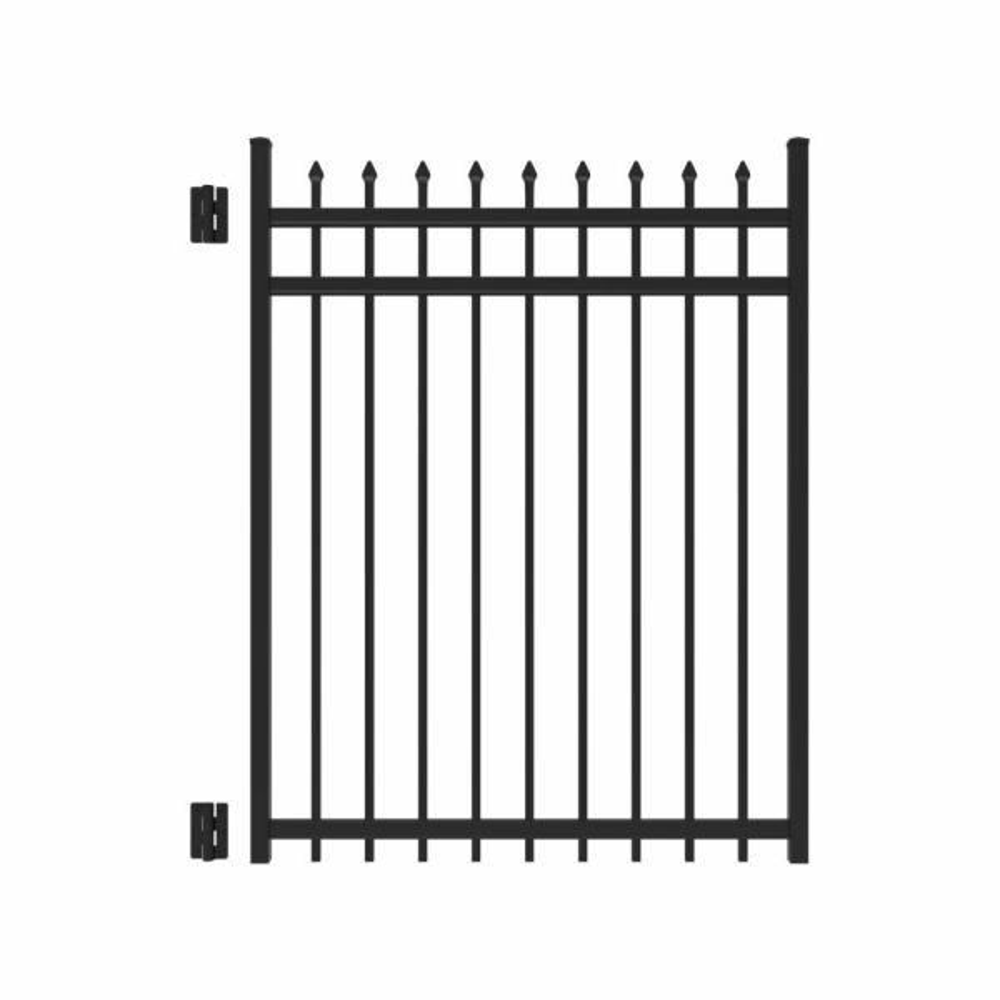 Cascade 4 ft. x 5 ft. Heavy-Duty Black Aluminum Straight Pre-Assembled Fence Gate
