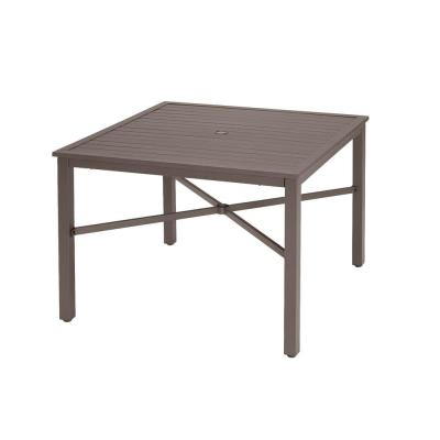 42 in. Mix and Match Brown Square Steel Outdoor Patio Dining Table with Slat Top