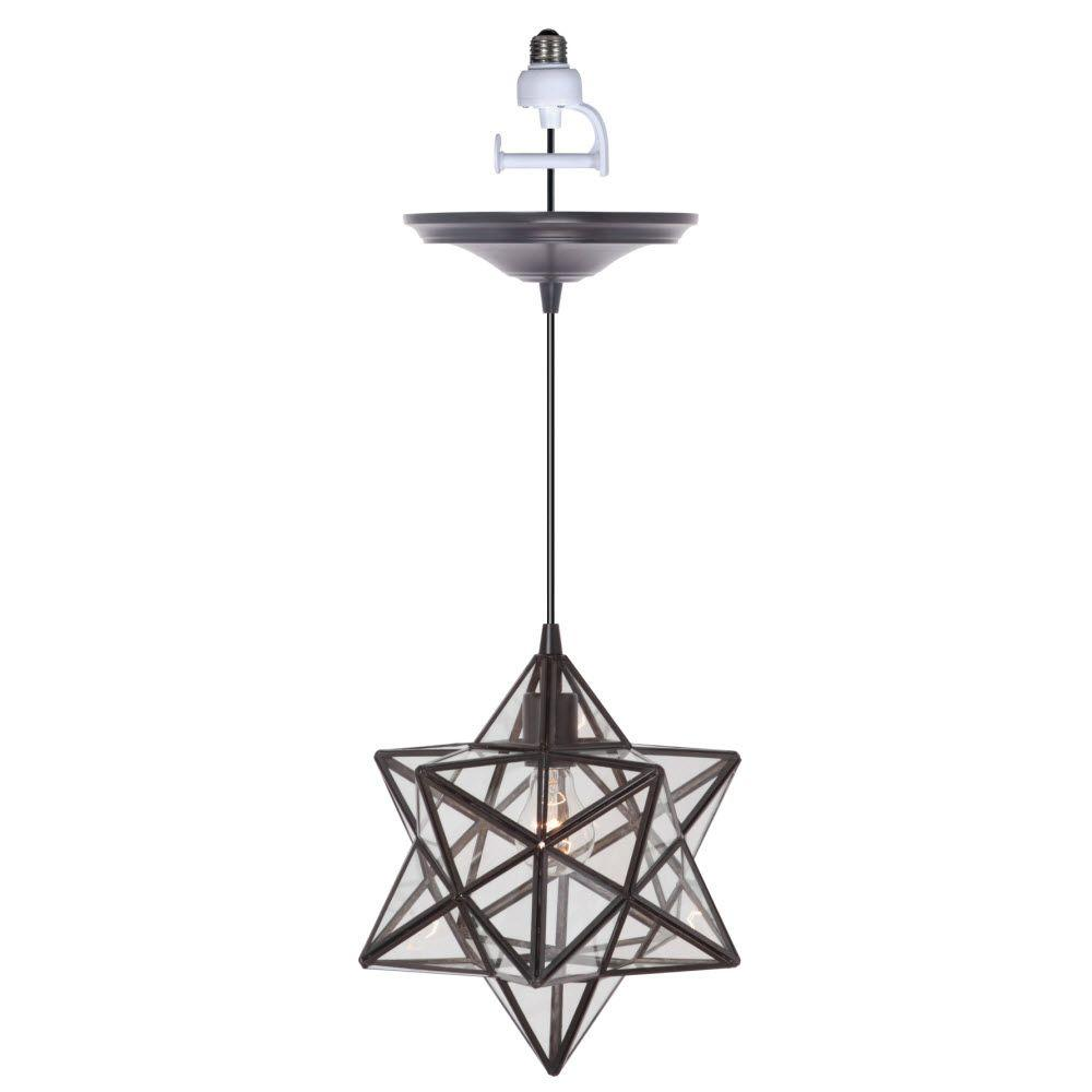 Home Decorators Collection Moravian 1-Light Large Bronze Pendant Conversion Kit with Clear Glass Shade