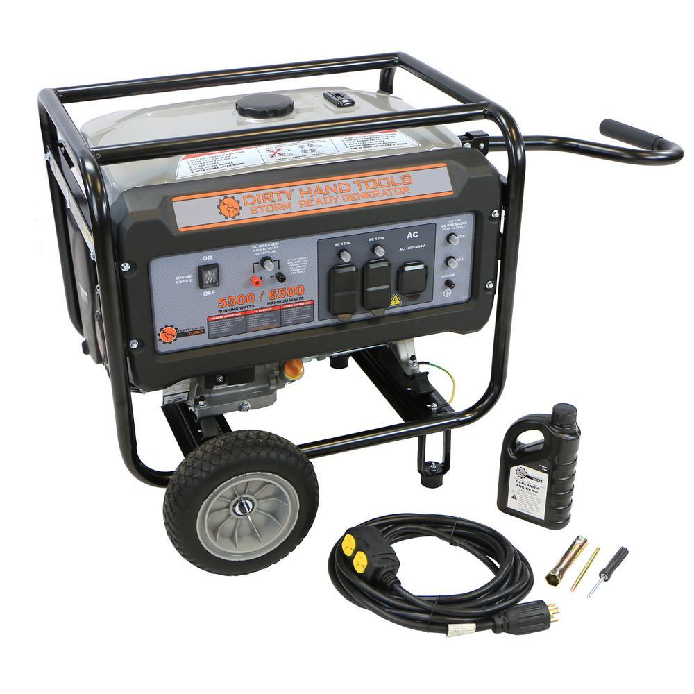 Dirty Hand Tools Storm Ready 5,500-Watt Gas Powered Portable Generator