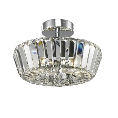 Woodstone 8.5 in. Polished Chrome Flush Mount/Semi Flush Mount with Solid Crystal Shade
