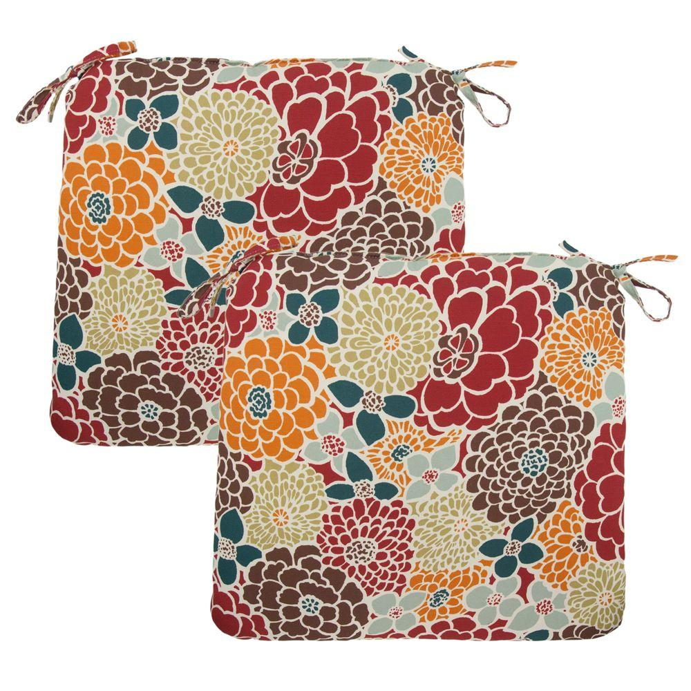 Hampton Bay Lois Floral Outdoor Chair Cushion (2-Pack)-DISCONTINUED