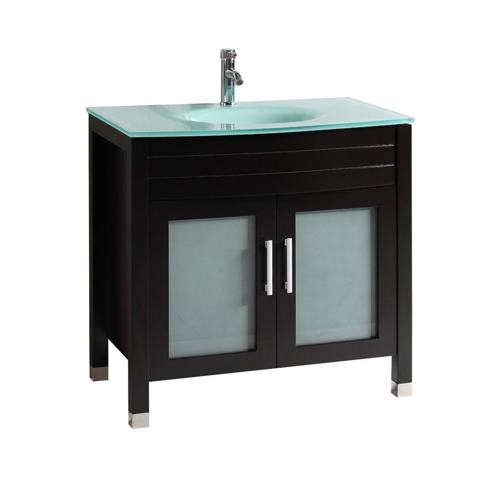 Roca 36 in. W x 20 in. D Bath Vanity in Espresso with Engineered Wood Vanity Top Glass with Espresso Basin
