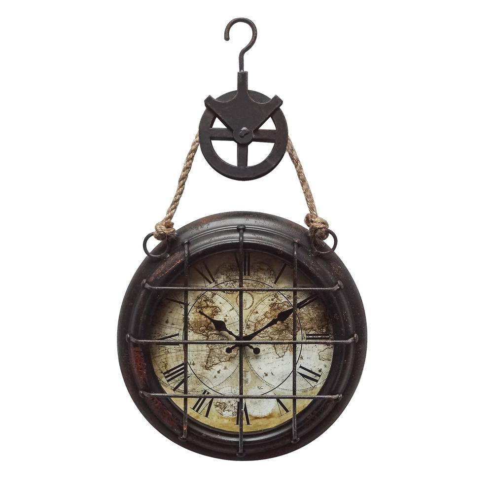 Dockyard Dark Brown Analog Wall Clock