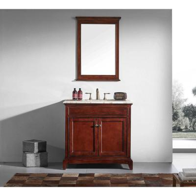 Elite Stamford 36 in. W x 23.5 in. D x 36 in. H Vanity in Brown with Carrera Marble Top in White with White Basin