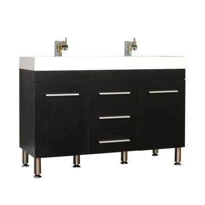 The Modern 47 in. W x 18.75 in. D Bath Vanity in Black with Acrylic Vanity Top in White with White Basin