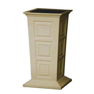 Savannah 16 in. Square Khaki Poly-Resin Column Planter
