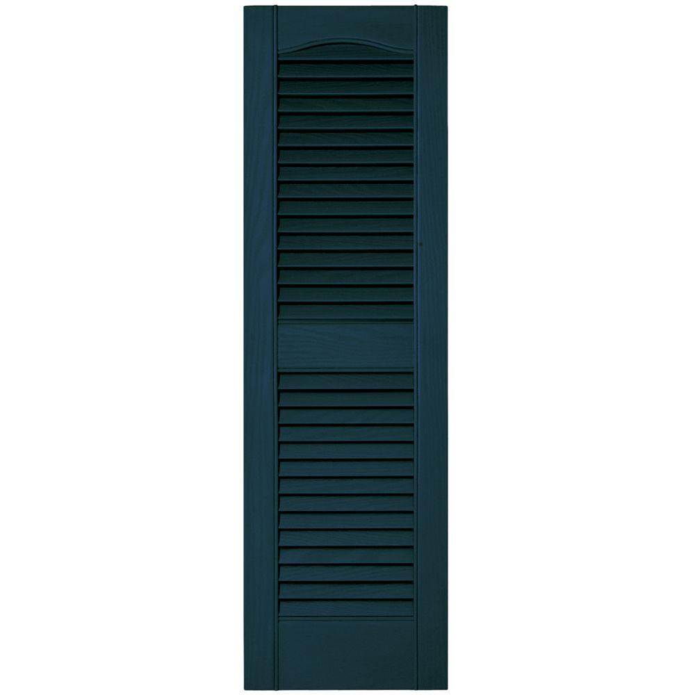 12 in. x 39 in. Louvered Vinyl Exterior Shutters Pair #166
