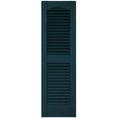 12 in. x 39 in. Louvered Vinyl Exterior Shutters Pair #166 Midnight Blue