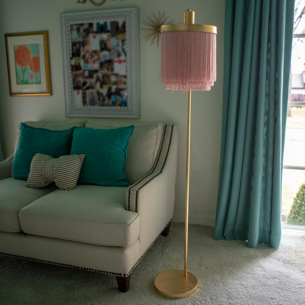Decor Therapy Framboise 59.75 in. Gold Floor Lamp with Fringe Lamp Shade