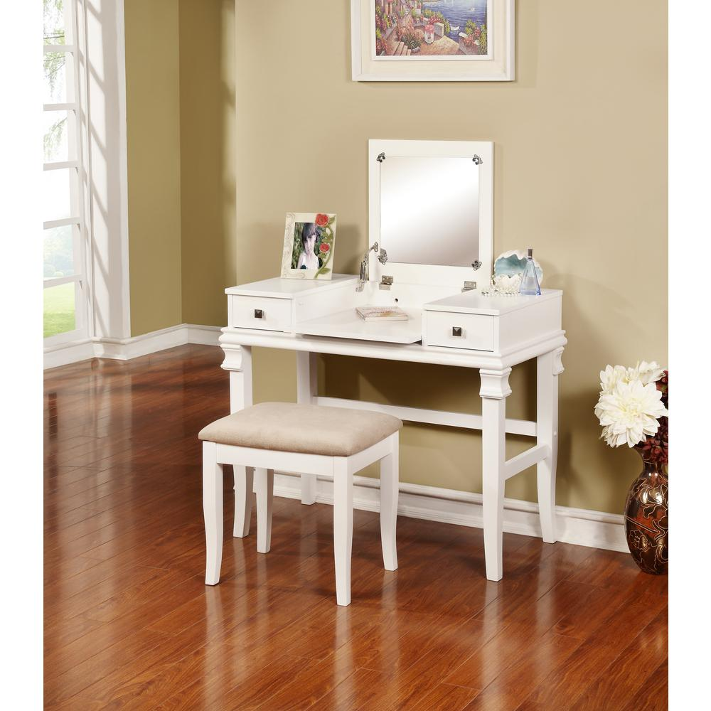 linon home decor angela 2 piece white vanity set 98373wht 01 kd u the home depot. Black Bedroom Furniture Sets. Home Design Ideas