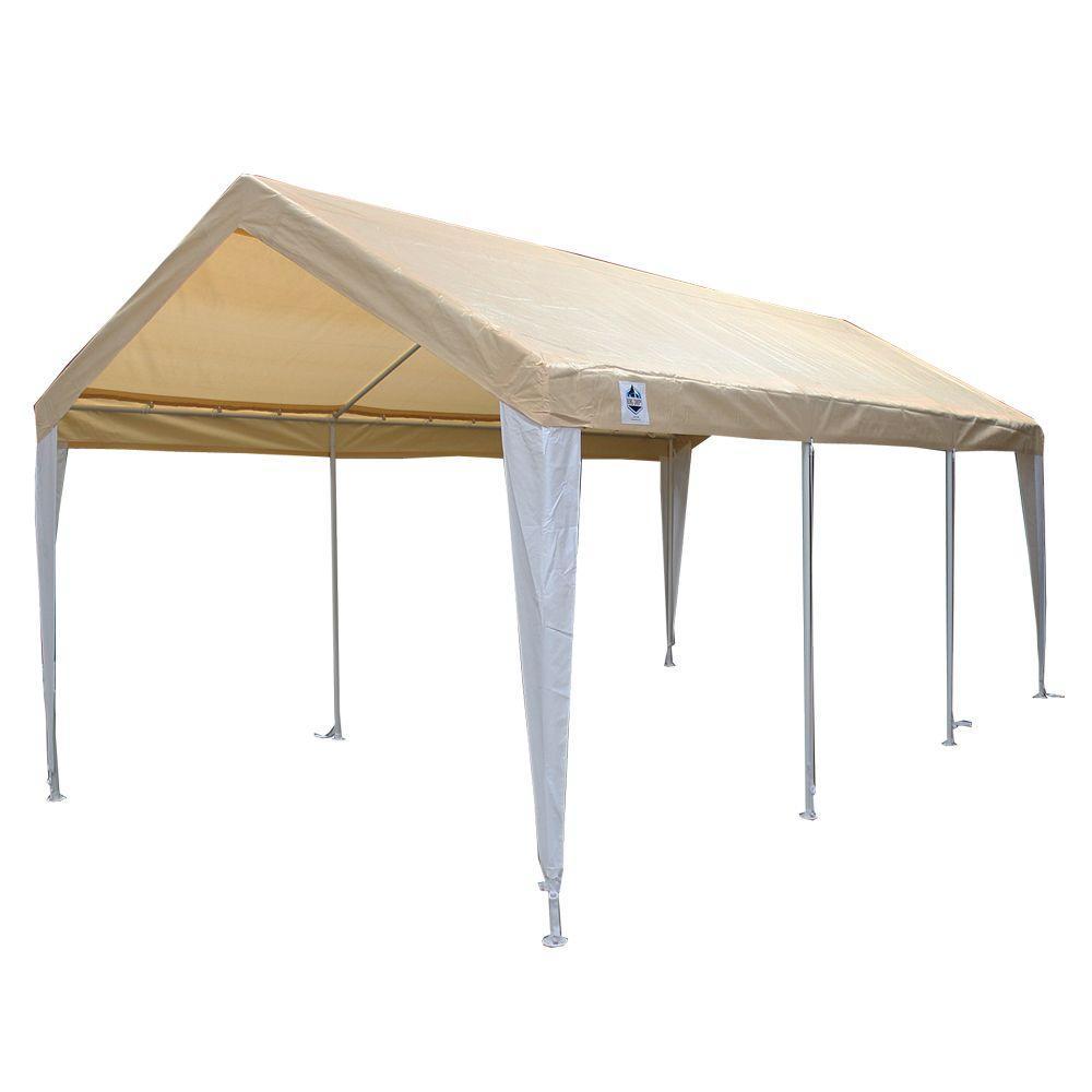 Hercules 10 ft. W x 20 ft. D Steel Canopy in Tan/White