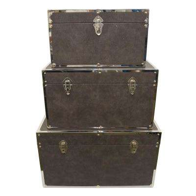 27 in. x 16 in. x 15.5 in. Brown Nested Wood Trunks (Set of 3)