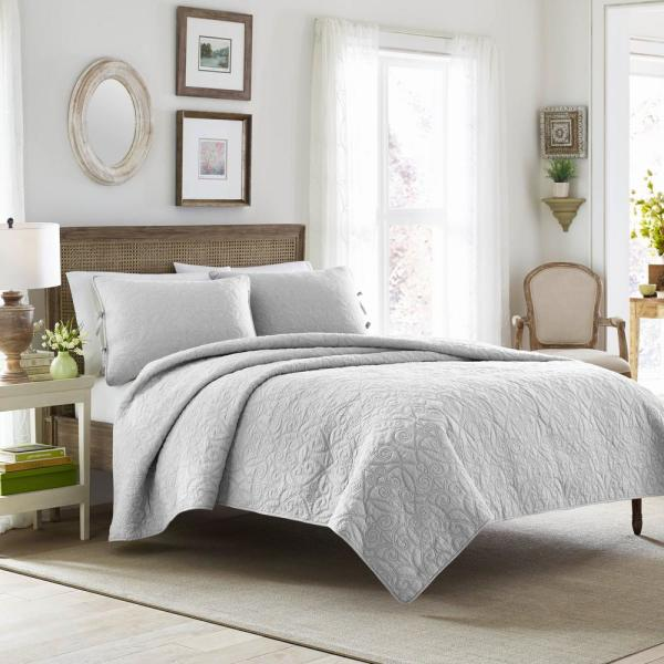 Laura Ashley Felicity 3-Piece Grey King Quilt Set 213550