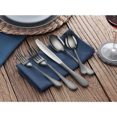 Rain 18/10 Stainless Steel Flatware 20-Piece Set, Black Finished, Service for 4