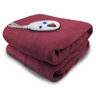 4460 Series, Claret in Color, 1-Size 50 in. x 62 in. Micro Plush Heated Throw