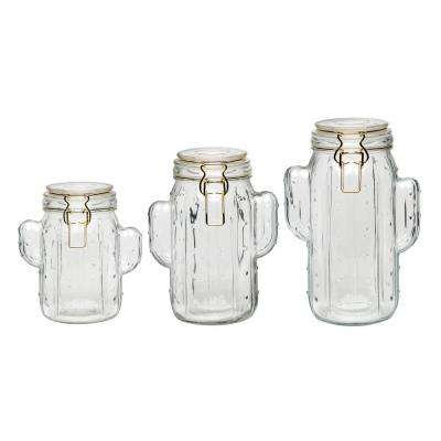 Saguaro 3-Piece Glass Hermetic Preserving Canister Set with Figural Shapes
