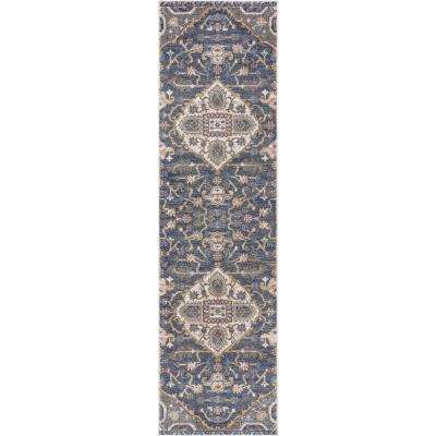 Olympus Medallion Blue 2 ft. x 7 ft. Runner Rug