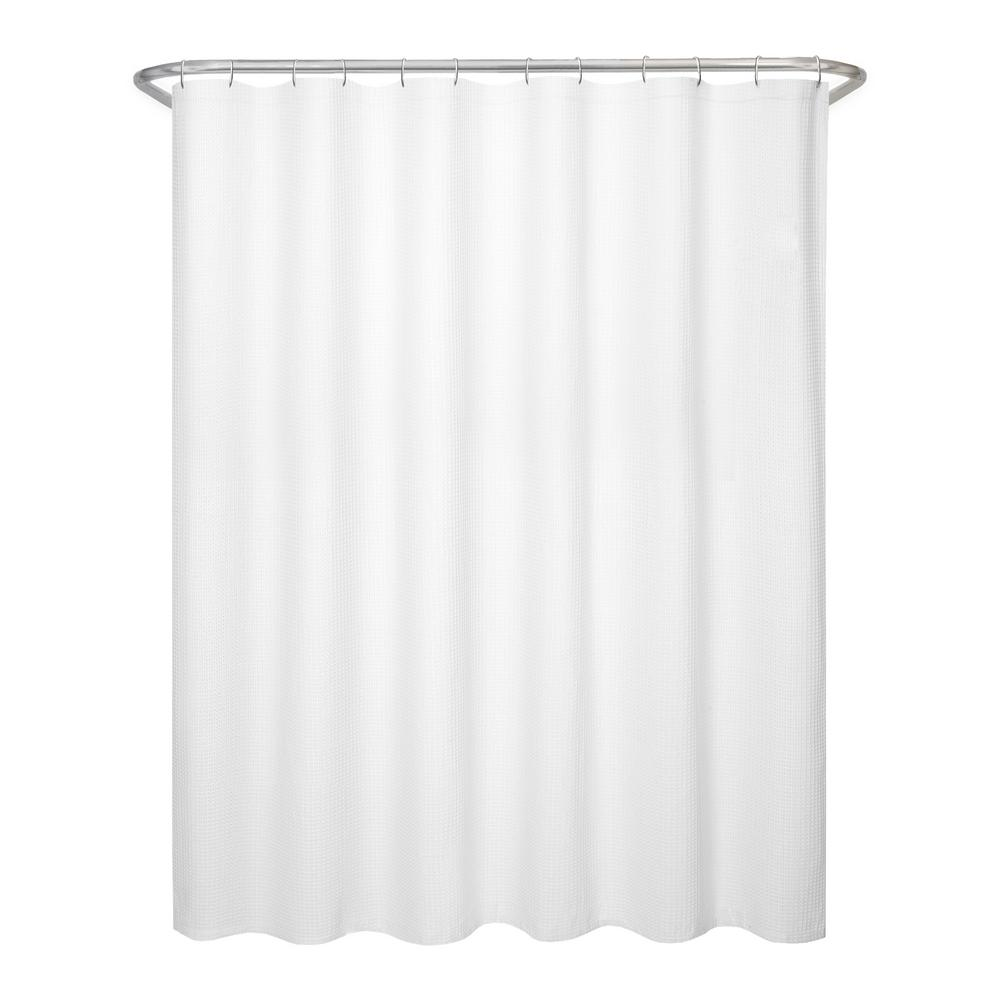 Maytex 70 in. x 72 in. Textured Waffle Fabric White Shower ...