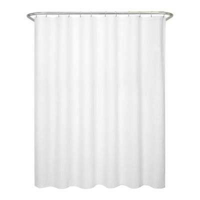 70 in. x 72 in. Textured Waffle Fabric White Shower Curtain