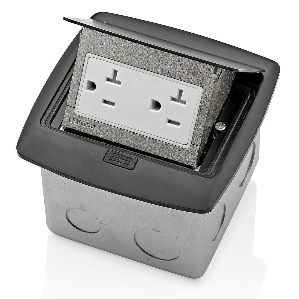 Pop-Up Floor Box with 20 Amp, Tamper-Resistant Outlet, Black