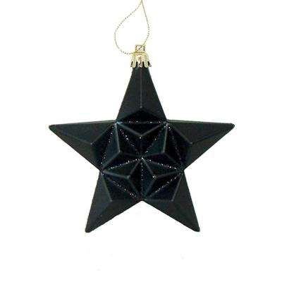 5 in matte jet black glittered star shatterproof christmas ornaments