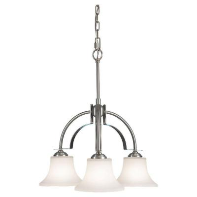 Barrington 22.5 in. W. 3-Light Brushed Steel Chandelier with Opal Etched Glass Shades
