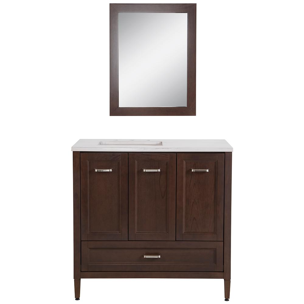 Home Decorators Collection Claxby 36.5 in. W x 19 in. D Bath Vanity in Tan Brown with Stone Effect Vanity Top in Gray Stone with Sink and Mirror