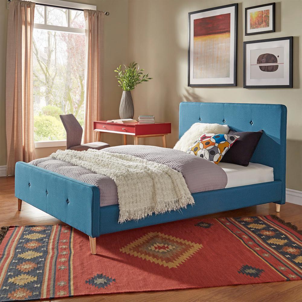 Veronica Mid Century Cobalt Queen Standard Bed