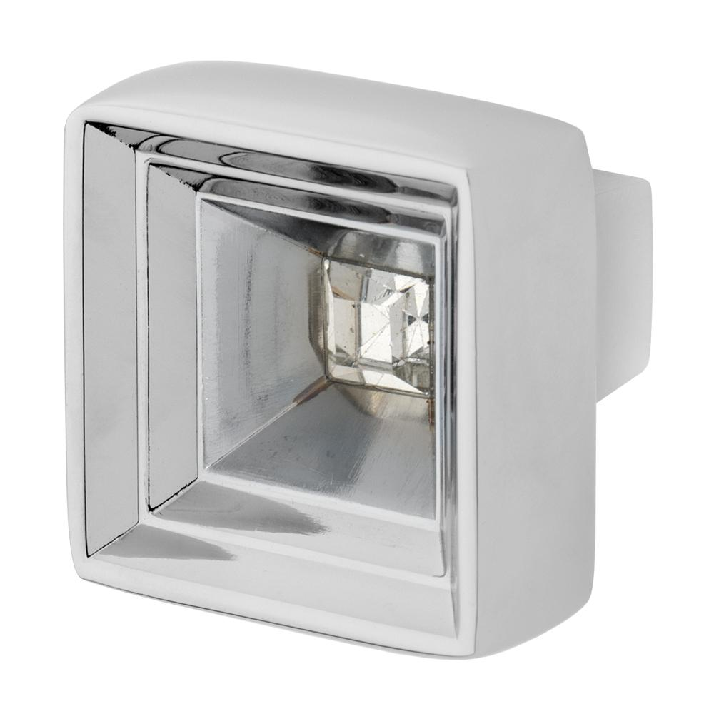 Hidden Treasure 1-1/16 in. Chrome with Clear Crystal Cabinet Knob