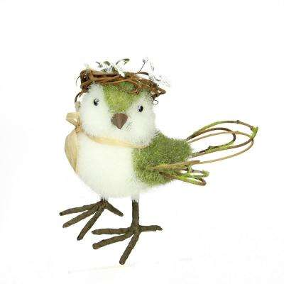 "6.25"" Green  White and Brown Decorative Standing Spring Bird Table Top Figure"