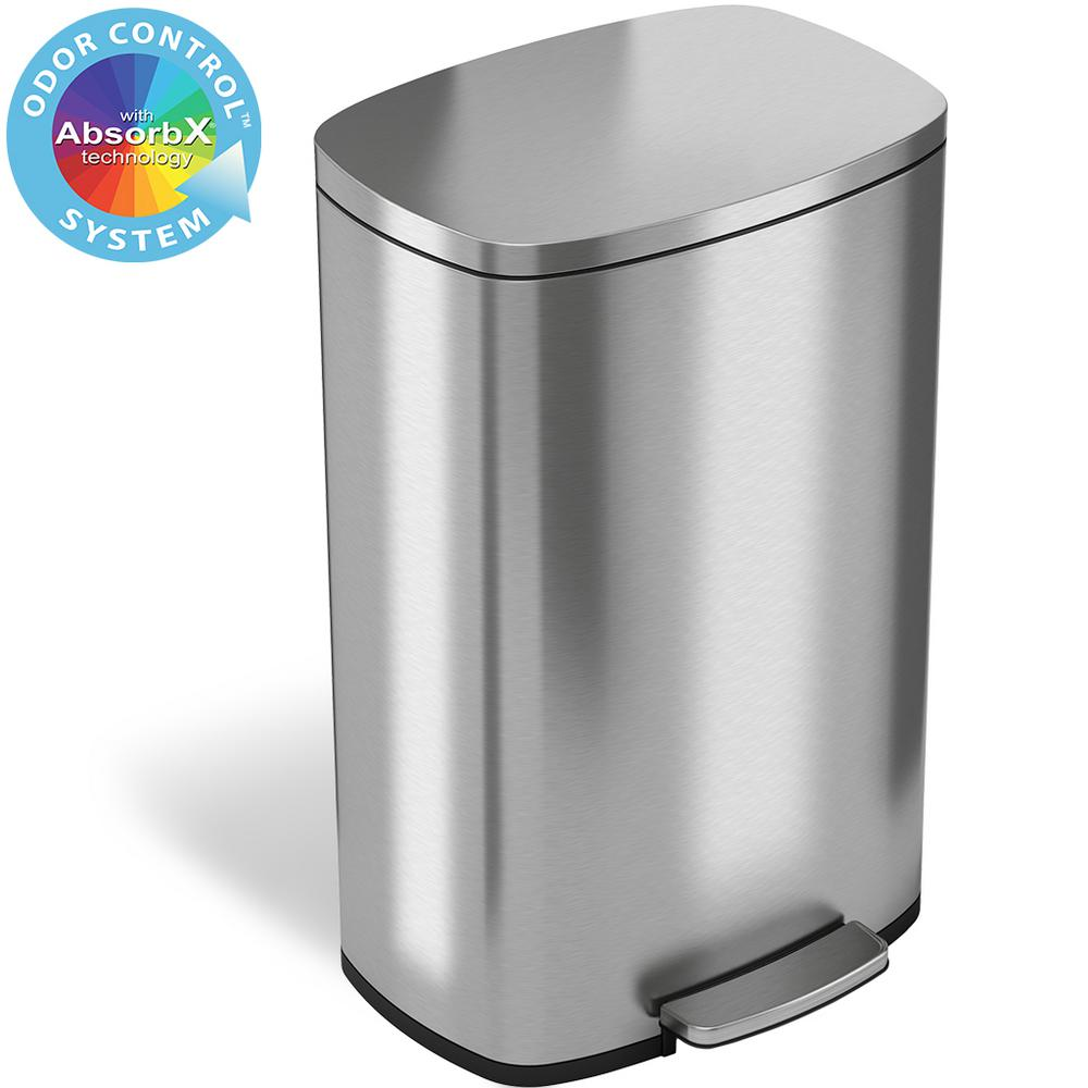 iTouchless SoftStep 13.2 Gal. Stainless Steel Step Trash Can with Odor Filter and Inner Bucket for Office and Kitchen