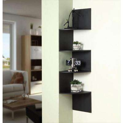 11.8 in. x 53.13 in. Hanging Black Wood Corner Wall Storage