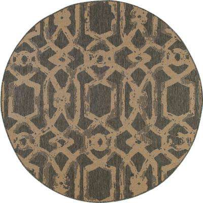 Plymouth Blacksmith Gray 7 ft. x 7 ft. Round Indoor/Outdoor Area Rug