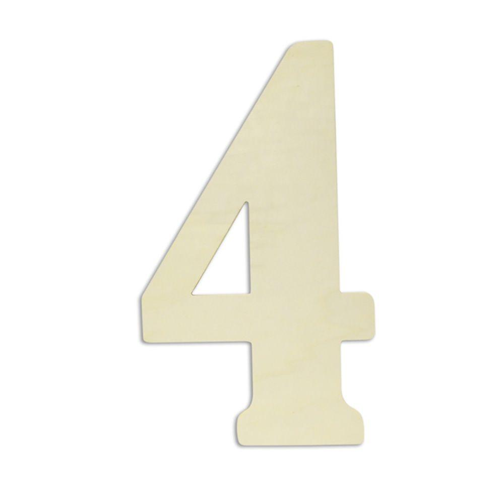 "Jeff McWilliams Designs 18 in. Oversized Unfinished Wood Number ""4"""
