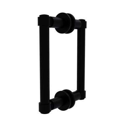 Contemporary 6 in. Back to Back Shower Door Pull in Matte Black